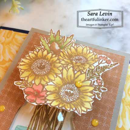 Stampin Up Jar of Flowers Locking Gate Fold card, flowers detail Shop for Stampin Up with Sara Levin at theartfulinker.com