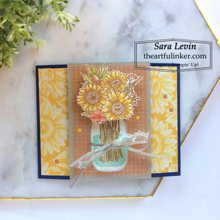 Stampin Up Jar of Flowers Locking Gate Fold card Shop for Stampin Up with Sara Levin at theartfulinker.com