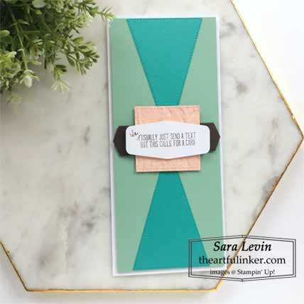 Stampin Up Massive Thanks slimline card, masculine clean and simple Shop for Stampin Up with Sara Levin at theartfulinker.com