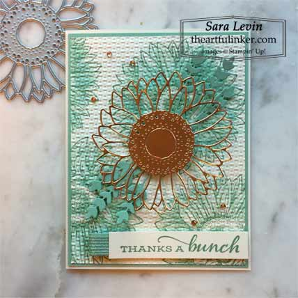 Monochromatic Celebrate Sunflowers card for Stamping Sunday Blog Hop Gilded Autumn Shop for Stampin Up with Sara Levin at theartfulinker.com