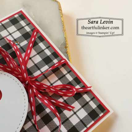 Stampin Up Playful Alphabet SUp with You card with Plaid Tidings ribbon detail Shop for Stampin Up with Sara Levin at theartfulinker.com