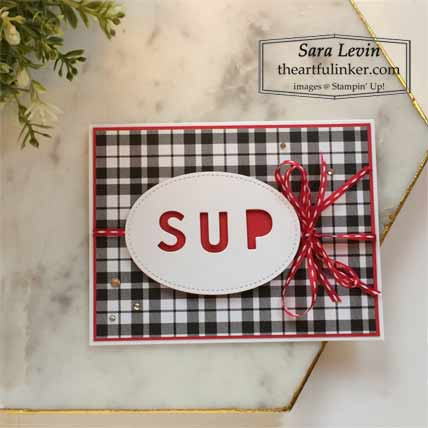 Stampin Up Playful Alphabet SUp with You card with Plaid Tidiings Shop for Stampin Up with Sara Levin at theartfulinker.com
