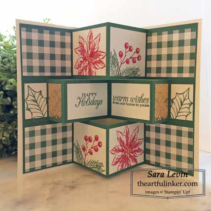 Stampin Up Poinsettia Petals Center Pop Out Shutter Card inside Shop for Stampin Up with Sara Levin theartfulinker.com