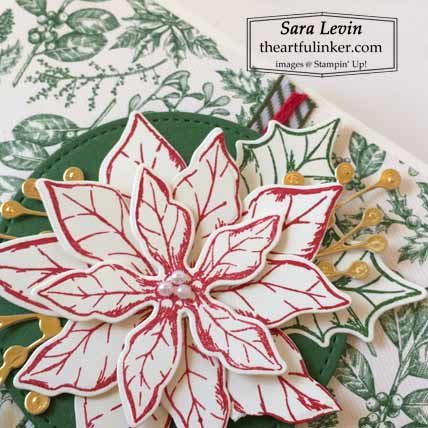 Stampin Up Poinsettia Petals Center Pop Out Shutter Card poinsettia detail Shop for Stampin Up with Sara Levin theartfulinker.com