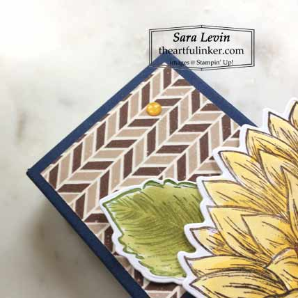 Stampin Up Celebrate Sunflowers Podium Card A10 size detal Shop for Stampin Up with Sara Levin at theartfulinker.com