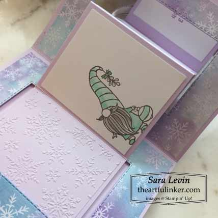 Stampin Up Gnome for the Holidays Accordion Card embossing detail for Stamping Sunday Blog Hop Mini Designer Paper