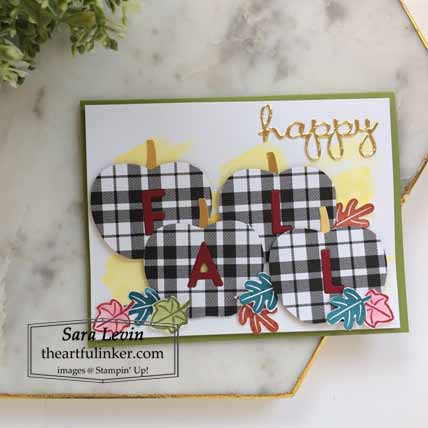 Happy Fall card using Stampin Up Arrange a wreath and Harvest Hellos Shop Stampin Up with Sara Levin at theartfulinker.com