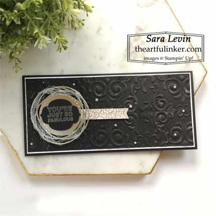 Little Black Dress slimline card for Creation Station Blog Hop Whatever You Wanna Be Shop Stampin Up with Sara Levin