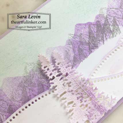 Stampin Up Mountain Air in winter with Curvy Dies slimline card watercolor trees detail for Creation Station Blog Hop The Great Outdoors