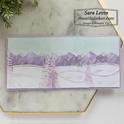 Stampin Up Mountain Air in winter with Curvy Dies slimline card for Creation Station Blog Hop The Great Outdoors