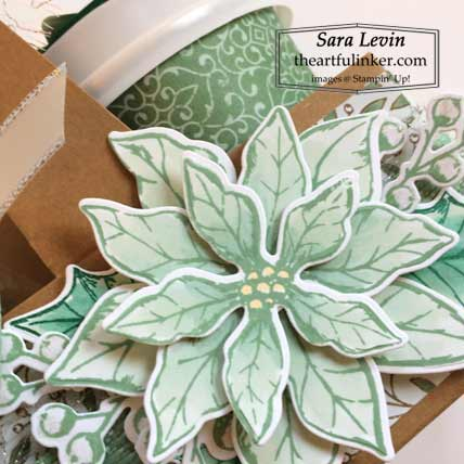 Stampin Up Mini Coffee Carrier with Poinsettia Petals detail for stamping sunday blog hop Over the Top Christmas Shop for Stampin Up Sara Levin theartfulinker.com