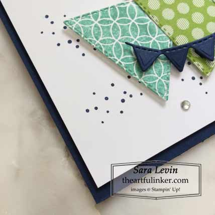 Stampin Up The Right Triangle slimline card detail Shop for stampin up with Sara Levin at theartfulinker.com