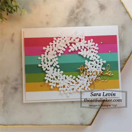 Stampin Up Wreath Builder Thank you card Shop for Stampin Up with Sara Levin at theartfulinker.com