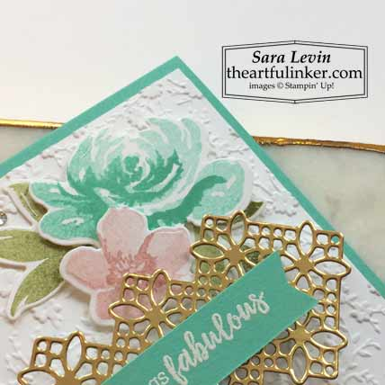 All Things Fabulous card with two step stamping flower detail Stampin' Up! TUTORIAL – Click for details – SHOP- ORDER STAMPIN' UP! PRODUCTS ONLINE. Purchase the $99 Starter Kit & enjoy a 20% discount! Tons of paper crafting ideas & FREE Online Classes theartfulinker.com