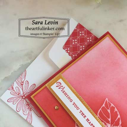 Stampin Up Good Morning Magnolia Christmas card with emboss resist lined envelope detail for The Spot Creative Challenge Shop Stampin Up