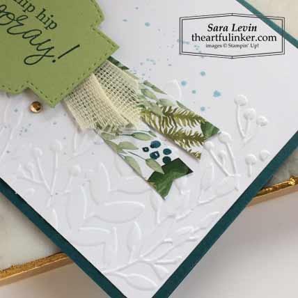 6 x 6 One Sheet Wonder Forever Greenery and Best Year Card 2 embossed detail Stampin' Up! VIDEO TUTORIAL – Click for details – SHOP- ORDER STAMPIN' UP! PRODUCTS ONLINE. Purchase the $99 Starter Kit & enjoy a 20% discount! Tons of paper crafting ideas & FREE Online Classes theartfulinker.com