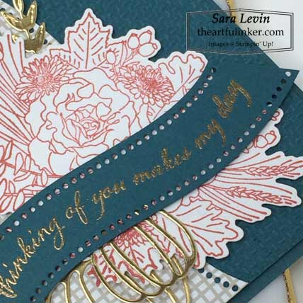 Stampin Up Quite Curvy Autumn Greetings card with Curvy Dies sentiment detail Shop Sara Levin theartfulinker.com