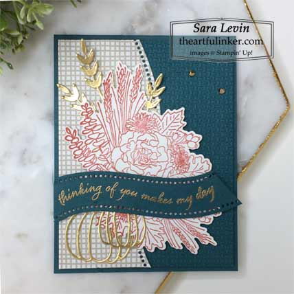 Stampin Up Quite Curvy Autumn Greetings card with Curvy Dies Classic Christmas designer paper Shop Sara Levin theartfulinker.com