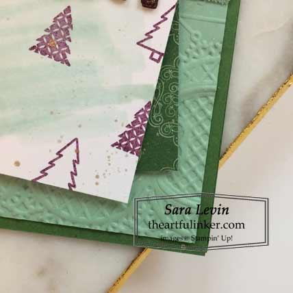 Stampin Up Warm Hugs Tis the Season Christmas card Lace embossing detail Stampin Up video tutorial Click for details SHOP Stampin Up Order Online theartfulinker.com