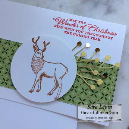 Stampin Up Wishes and Wonder Forever Gold designer paper simple stamping christmas card detail Shop with Sara Levin