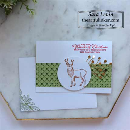 Stampin Up Wishes and Wonder Forever Gold designer paper simple stamping christmas card Shop with Sara Levin