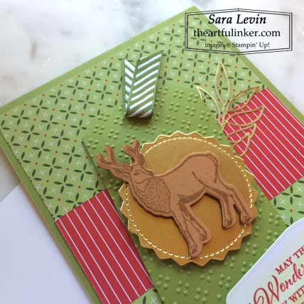 Stampin Up Wishes and Wonder Heartwarming Hugs designer paper Christmas card deer tag Shop with Sara Levin