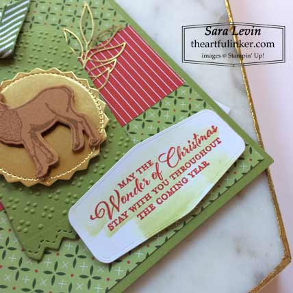 Stampin Up Wishes and Wonder Heartwarming Hugs designer paper Christmas card sentiment Shop with Sara Levin