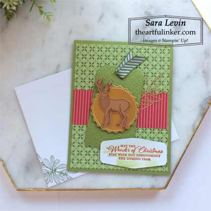 Stampin Up Wishes and Wonder Heartwarming Hugs designer paper Christmas card Shop with Sara Levin