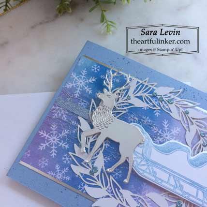 Stampin Up Wishes and Wonder Snowflake Splendor designer paper Christmas card deer detail Shop with Sara Levin