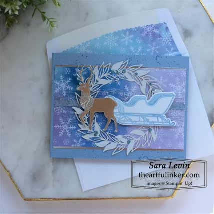 Stampin Up Wishes and Wonder Snowflake Splendor designer paper Christmas card Shop with Sara Levin