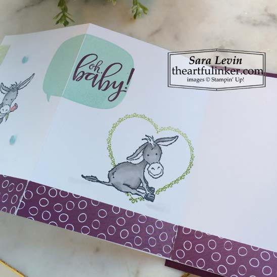 Darling Donkeys expansion fold card inside panel with Punch Party sentimentfor Stamping Sunday Blog Hop Sale a Bration Sneak Peek 2021 Stampin' Up! VIDEO TUTORIAL – Click for details – SHOP- ORDER STAMPIN' UP! PRODUCTS ONLINE. Purchase the $99 Starter Kit & enjoy a 20% discount! Tons of paper crafting ideas & FREE Online Classes theartfulinker.com