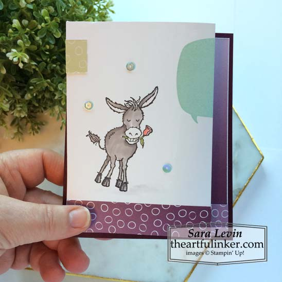 Darling Donkeys expansion fold card for Stamping Sunday Blog Hop Sale a Bration Sneak Peek 2021 Stampin' Up! VIDEO TUTORIAL – Click for details – SHOP- ORDER STAMPIN' UP! PRODUCTS ONLINE. Purchase the $99 Starter Kit & enjoy a 20% discount! Tons of paper crafting ideas & FREE Online Classes theartfulinker.com