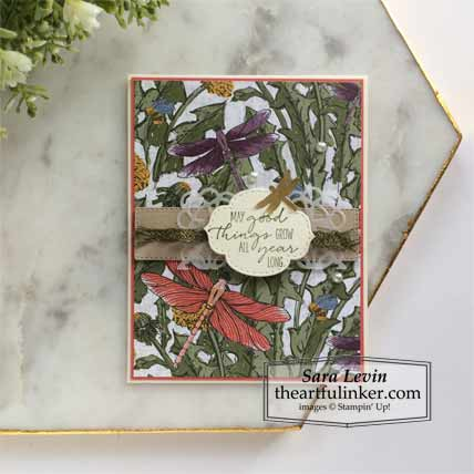 Learn how to make this Dragonfly Garden Sneak Peek Card 1 Stampin' Up! VIDEO TUTORIAL – Click for details – SHOP- ORDER STAMPIN' UP! PRODUCTS ONLINE. Purchase the $99 Starter Kit & enjoy a 20% discount! Tons of paper crafting ideas & FREE Online Classes theartfulinker.com