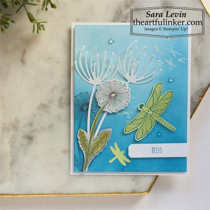 Dragonfly Garden sneak peek card 2 Stampin' Up! VIDEO TUTORIAL – Click for details – SHOP- ORDER STAMPIN' UP! PRODUCTS ONLINE. Purchase the $99 Starter Kit & enjoy a 20% discount! Tons of paper crafting ideas & FREE Online Classes theartfulinker.com