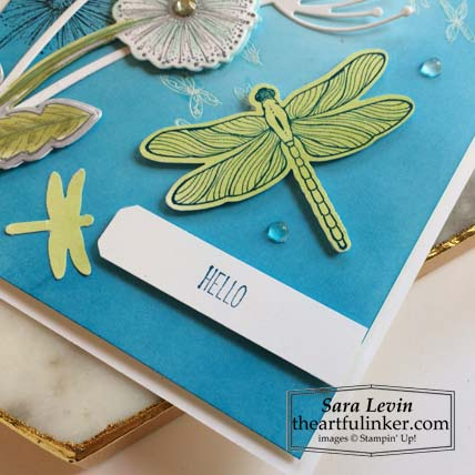 Dragonfly Garden sneak peek card 2 sentiment detail Stampin' Up! VIDEO TUTORIAL – Click for details – SHOP- ORDER STAMPIN' UP! PRODUCTS ONLINE. Purchase the $99 Starter Kit & enjoy a 20% discount! Tons of paper crafting ideas & FREE Online Classes theartfulinker.com