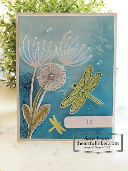 Dragonfly Garden sneak peek card 2 with Dandy Wishes die cuts Stampin' Up! VIDEO TUTORIAL – Click for details – SHOP- ORDER STAMPIN' UP! PRODUCTS ONLINE. Purchase the $99 Starter Kit & enjoy a 20% discount! Tons of paper crafting ideas & FREE Online Classes theartfulinker.com