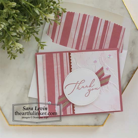 Heal Your Heart thank you card with lined envelope Stampin' Up! VIDEO TUTORIAL – Click for details – SHOP- ORDER STAMPIN' UP! PRODUCTS ONLINE. Purchase the $99 Starter Kit & enjoy a 20% discount! Tons of paper crafting ideas & FREE Online Classes theartfulinker.com