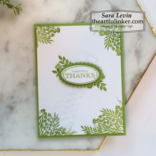 Monochromatic Corner Bouquet card for Stamping Sunday Blog Hop Sale a Bration Sneak Peek 2021 Stampin' Up! VIDEO TUTORIAL – Click for details – SHOP- ORDER STAMPIN' UP! PRODUCTS ONLINE. Purchase the $99 Starter Kit & enjoy a 20% discount! Tons of paper crafting ideas & FREE Online Classes theartfulinker.com