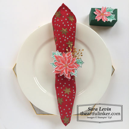 Poinsettia Petals Christmas napkin ring and Ferrero Rocher favor Stamping Sunday Blog Hop Holiday Table Stampin' Up! VIDEO TUTORIAL – Click for details – SHOP- ORDER STAMPIN' UP! PRODUCTS ONLINE. Purchase the $99 Starter Kit & enjoy a 20% discount! Tons of paper crafting ideas & FREE Online Classes theartfulinker.com