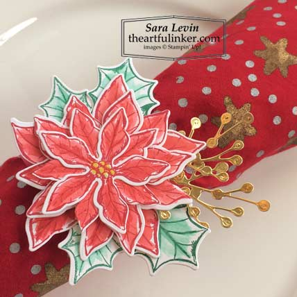 Poinsettia Petals Christmas napkin ring detail for Stamping Sunday Blog Hop Holiday Table Stampin' Up! VIDEO TUTORIAL – Click for details – SHOP- ORDER STAMPIN' UP! PRODUCTS ONLINE. Purchase the $99 Starter Kit & enjoy a 20% discount! Tons of paper crafting ideas & FREE Online Classes theartfulinker.com