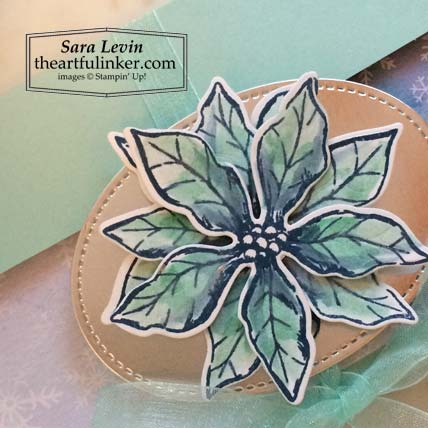 Poinsettia Petals Sock Box blue poinsettia detail Stampin' Up! VIDEO TUTORIAL – Click for details – SHOP- ORDER STAMPIN' UP! PRODUCTS ONLINE. Purchase the $99 Starter Kit & enjoy a 20% discount! Tons of paper crafting ideas & FREE Online Classes theartfulinker.com