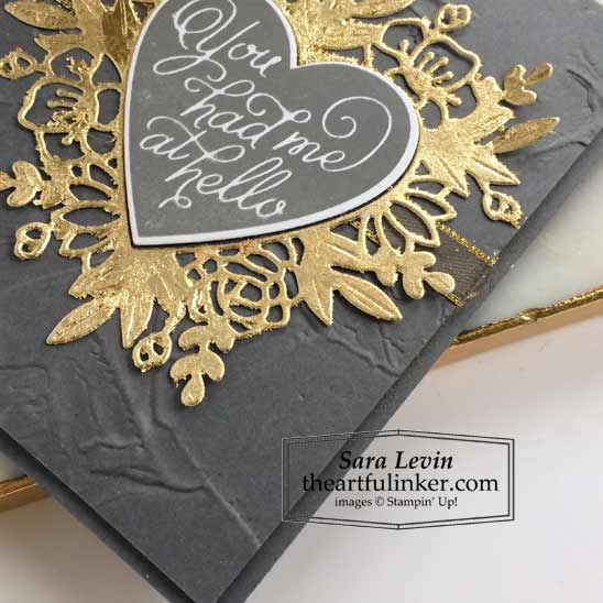 Always in My Heart Masculine Valentine's Day card sentiment and Gilded Leafing detail Stampin' Up! VIDEO TUTORIAL – Click for details – SHOP- ORDER STAMPIN' UP! PRODUCTS ONLINE. Purchase the $99 Starter Kit & enjoy a 20% discount! Tons of paper crafting ideas & FREE Online Classes theartfulinker.com
