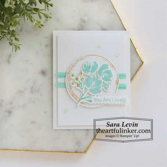 Art Gallery with Gilded Leafing card 2 for Stamping Sunday Blog Hop Stampin' Up! VIDEO TUTORIAL – Click for details – SHOP- ORDER STAMPIN' UP! PRODUCTS ONLINE. Purchase the $99 Starter Kit & enjoy a 20% discount! Tons of paper crafting ideas & FREE Online Classes theartfulinker.com