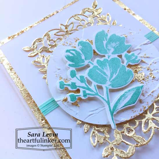 Art Gallery with Gilded Leafing card 3 view 2 for Stamping Sunday Blog Hop Stampin' Up! VIDEO TUTORIAL – Click for details – SHOP- ORDER STAMPIN' UP! PRODUCTS ONLINE. Purchase the $99 Starter Kit & enjoy a 20% discount! Tons of paper crafting ideas & FREE Online Classes theartfulinker.com