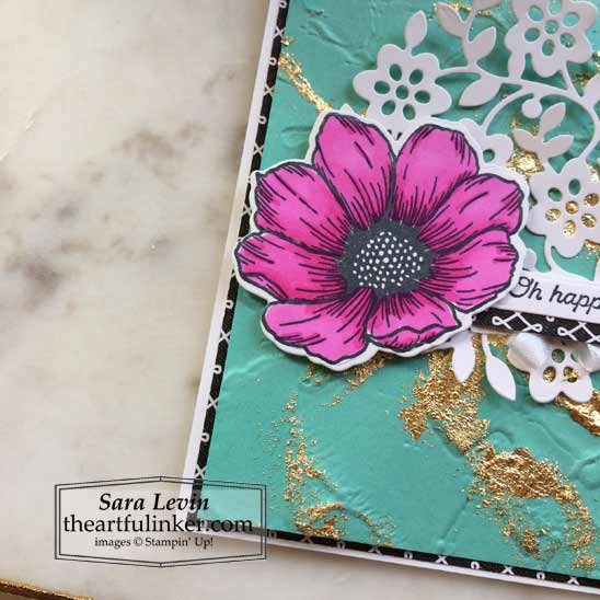 Forever and Always card with marbled background flower and Flowering Vine die cut detail Stampin' Up! VIDEO TUTORIAL – Click for details – SHOP- ORDER STAMPIN' UP! PRODUCTS ONLINE. Purchase the $99 Starter Kit & enjoy a 20% discount! Tons of paper crafting ideas & FREE Online Classes theartfulinker.com