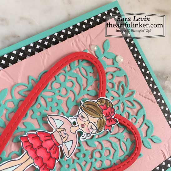 Hey Girlfriend Valentines Day card Stampin Blends coloring detail for OSAT Blog Hop Say Hello To Stampin' Up! VIDEO TUTORIAL – Click for details – SHOP- ORDER STAMPIN' UP! PRODUCTS ONLINE. Purchase the $99 Starter Kit & enjoy a 20% discount! Tons of paper crafting ideas & FREE Online Classes theartfulinker.com