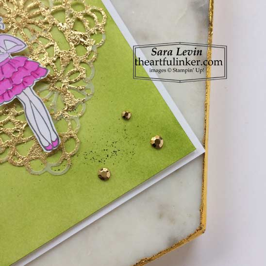 Hey Girlfriend card with Blended background and Gilded Leafing blending detail Stampin' Up! VIDEO TUTORIAL – Click for details – SHOP- ORDER STAMPIN' UP! PRODUCTS ONLINE. Purchase the $99 Starter Kit & enjoy a 20% discount! Tons of paper crafting ideas & FREE Online Classes theartfulinker.com