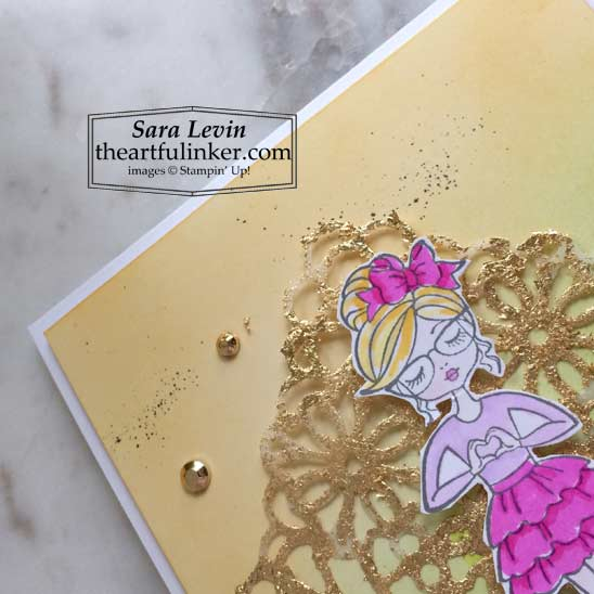 Hey Girlfriend card with Blended background and Gilded Leafing coloring detail Stampin' Up! VIDEO TUTORIAL – Click for details – SHOP- ORDER STAMPIN' UP! PRODUCTS ONLINE. Purchase the $99 Starter Kit & enjoy a 20% discount! Tons of paper crafting ideas & FREE Online Classes theartfulinker.com