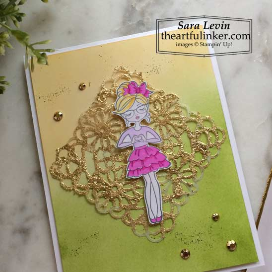 Hey Girlfriend card with Blended background and Gilded Leafing Stampin' Up! VIDEO TUTORIAL – Click for details – SHOP- ORDER STAMPIN' UP! PRODUCTS ONLINE. Purchase the $99 Starter Kit & enjoy a 20% discount! Tons of paper crafting ideas & FREE Online Classes theartfulinker.com