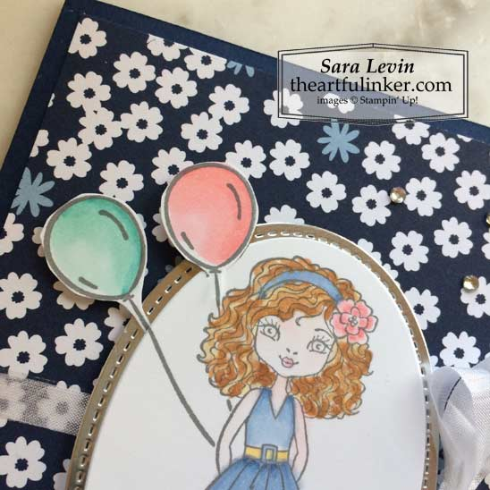Hey Girlfriend with Paper Blooms birthday card hair and balloon detail Stampin' Up! VIDEO TUTORIAL – Click for details – SHOP- ORDER STAMPIN' UP! PRODUCTS ONLINE. Purchase the $99 Starter Kit & enjoy a 20% discount! Tons of paper crafting ideas & FREE Online Classes theartfulinker.com